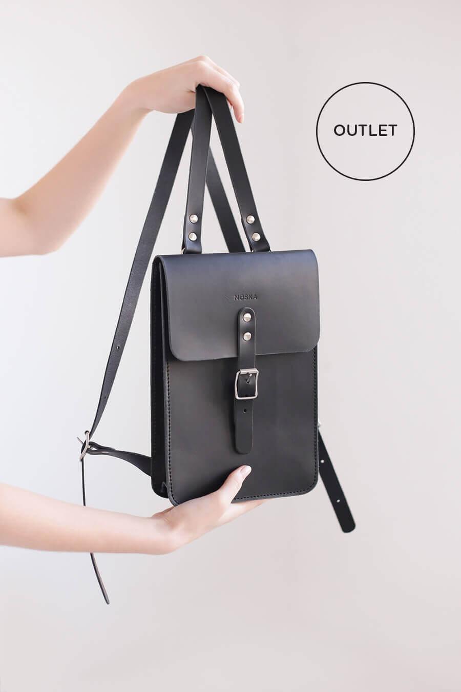 0c5d5338fbb13 Mały skórzany plecak (czarny) (Outlet) - NOSKA SHOP
